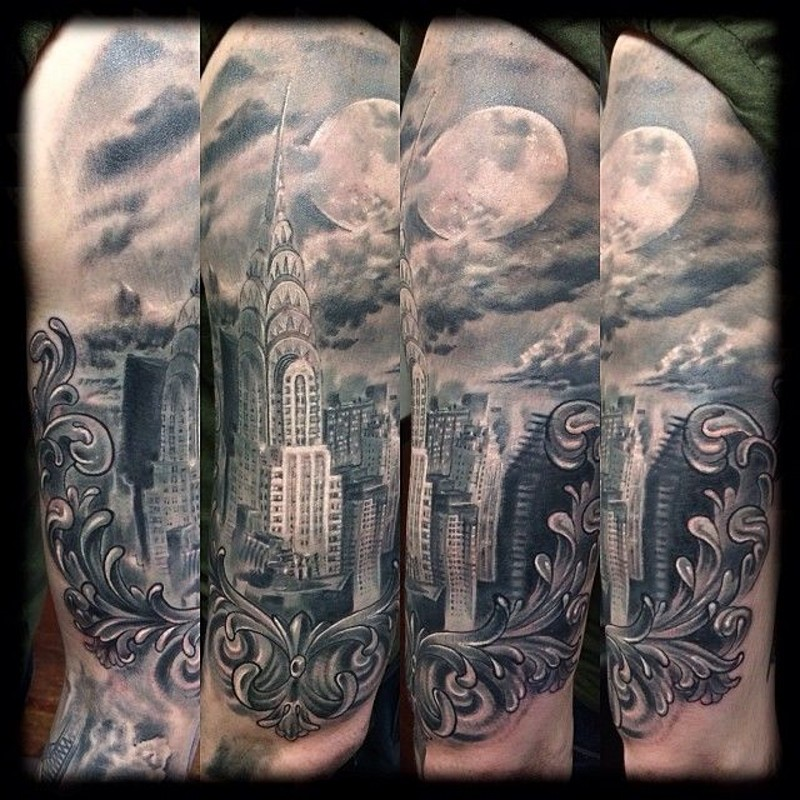 real photo like black and white shoulder tattoo of new york city sights. Black Bedroom Furniture Sets. Home Design Ideas