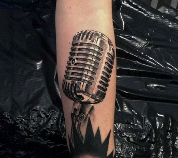 real photo like black and white vintage microphone tattoo on arm. Black Bedroom Furniture Sets. Home Design Ideas