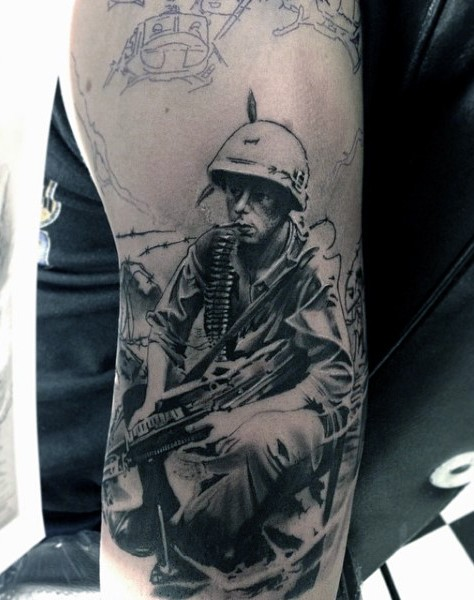 real photo like black and white ww2 soldier tattoo on arm. Black Bedroom Furniture Sets. Home Design Ideas