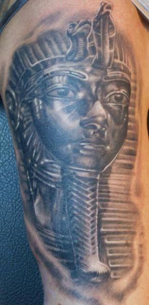 Real photo like black ink Egypt pharaoh statue tattoo