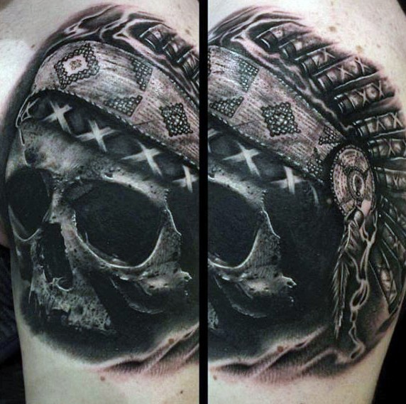 Real photo like black ink Indian skull tattoo with very detailed helmet