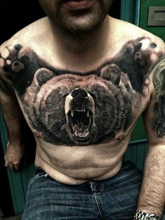 Real photo like breathtaking detailed colored chest tattoo of roaring bear