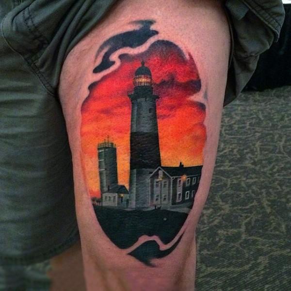 Real photo like colored big lighthouse tattoo on thigh