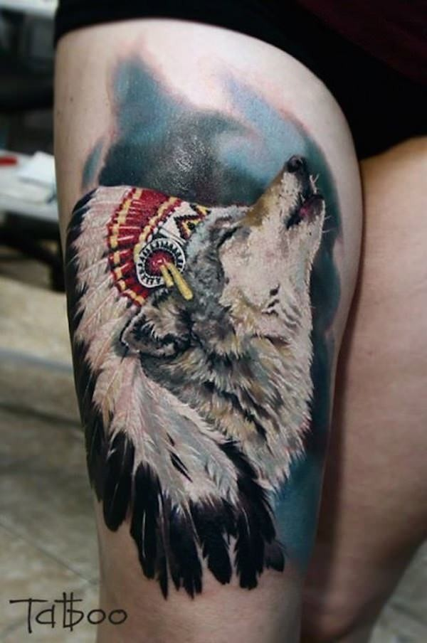 Real photo like colored big thigh tattoo of Indian wolf