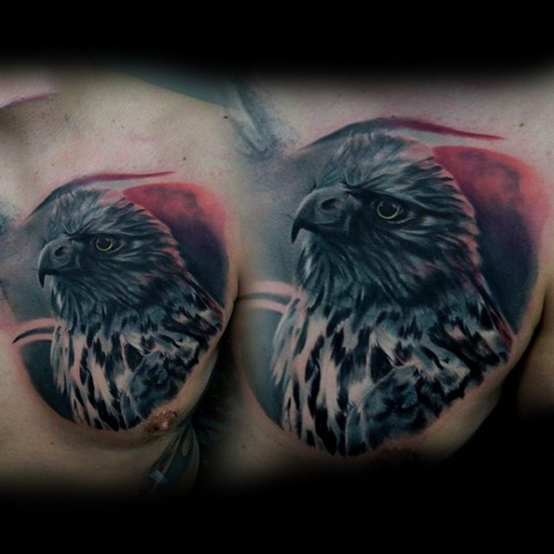 Real photo like colored chest tattoo of detailed eagle