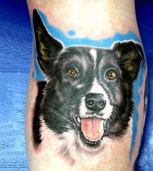 Real photo like colored cute dog portrait tattoo on leg
