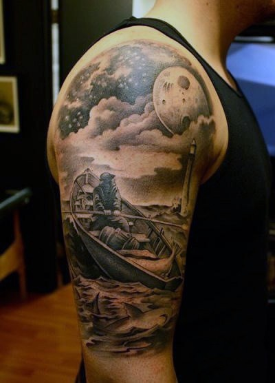 Real photo like detailed black ink man in boat with lighthouse half sleeve tattoo