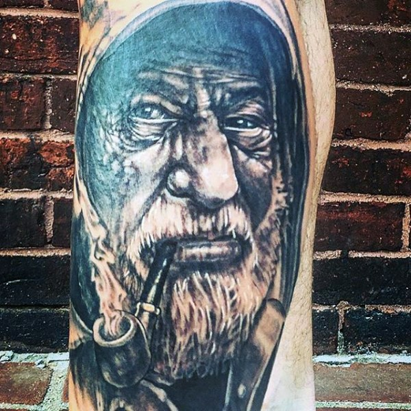 Real photo like detailed black ink smoking old sailor tattoo on thigh