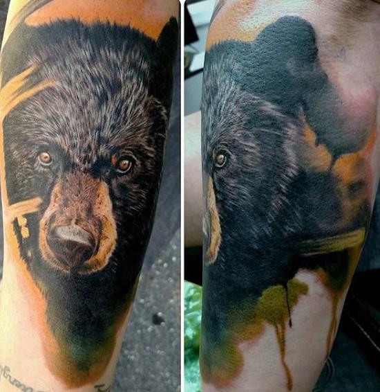 realistico foto bellissimo dettagliato colorato orso tatuaggio su braccio