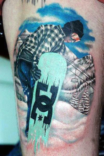 Real photo like gorgeous detailed colorful on thigh tattoo of snowboarder in mountains