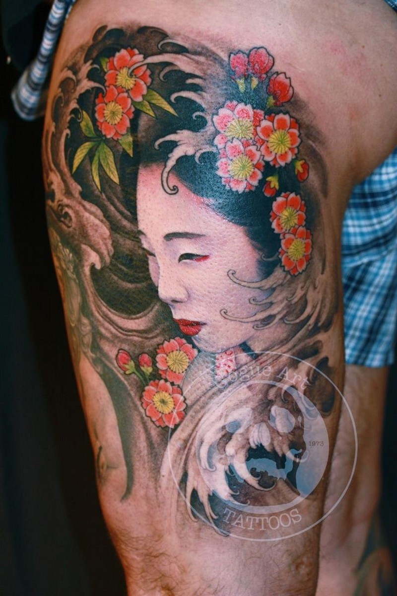 Real photo like multicolored thigh tattoo of Asian geisha portrait with flowers