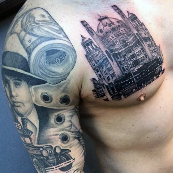 Real photo like nice painted black ink old Cathedral tattoo on chest
