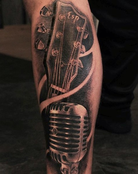 Real photo like painted black and white 3D guitar with microphone tattoo on leg