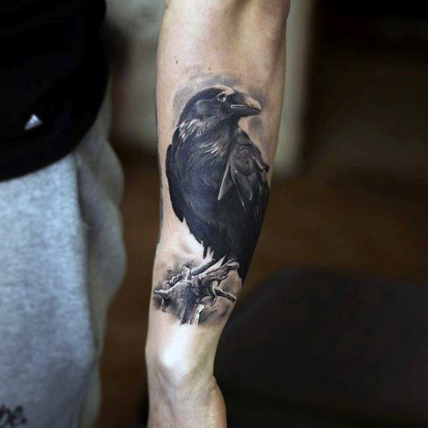 Real photo like very detailed black and white crow tattoo on arm