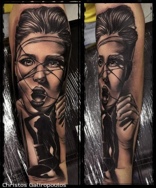 Real photo like very detailed colored seductive woman tattoo