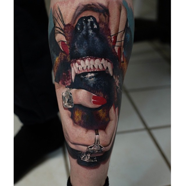 Real photo like very detailed colorful woman hands with dog teeth tattoo