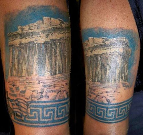 Real picture style colored forearm tattoo of antic Greece ruins