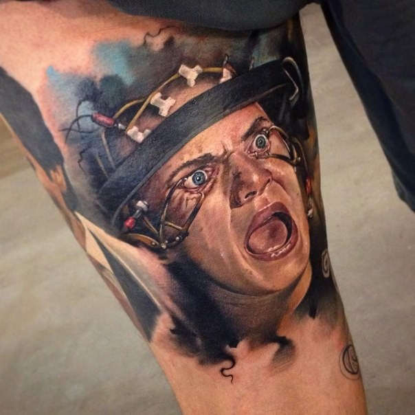 Realism colored horror style arm tattoo of creepy woman portrait