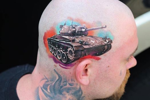 Realism style amazing looking colored American tank tattoo on head