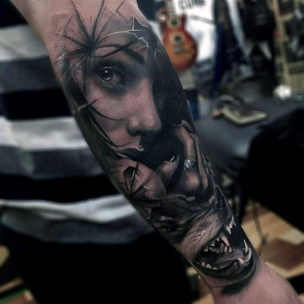 Realism style awesome detailed colored mystic woman portrait tattoo on forearm with evil wolf