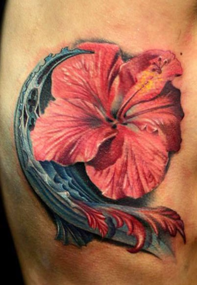 Realism style beautiful looking side tattoo of big flower