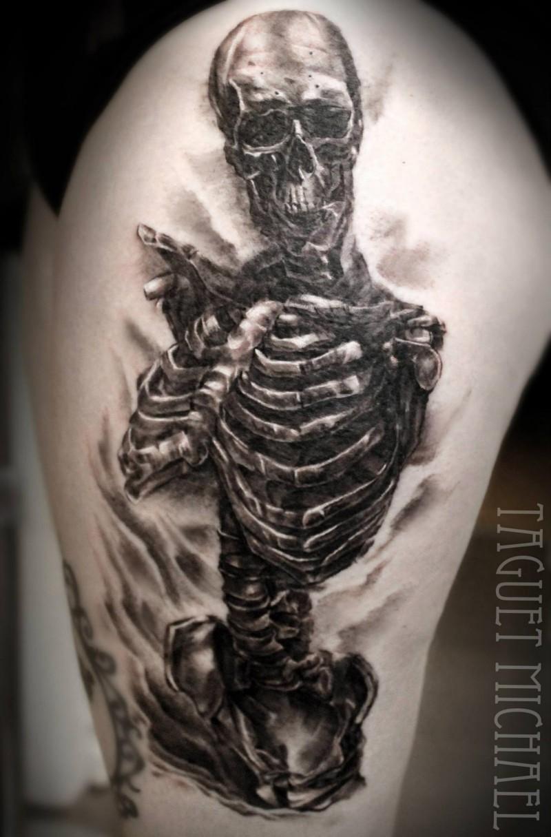 Realism style big detailed thigh tattoo of human skeleton