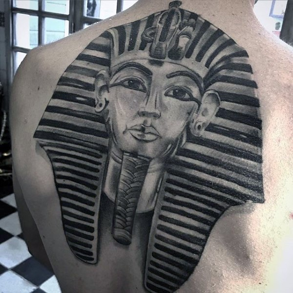 Realism style big whole back tattoo of Egypt statue