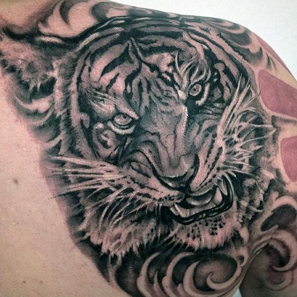 realism style black and white angry tiger tattoo on shoulder. Black Bedroom Furniture Sets. Home Design Ideas