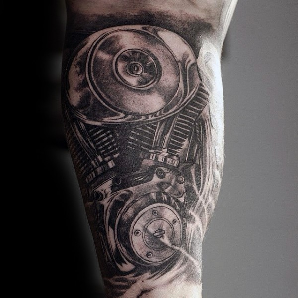 Realism style black and white biceps tattoo of car engine