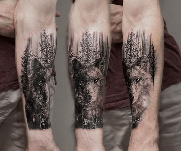 realism style black and white forearm tattoo of wolf in. Black Bedroom Furniture Sets. Home Design Ideas