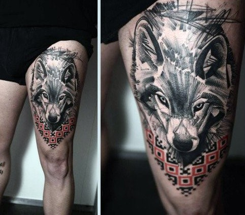 Realism style black and white thigh tattoo of wolf with cool ornaments