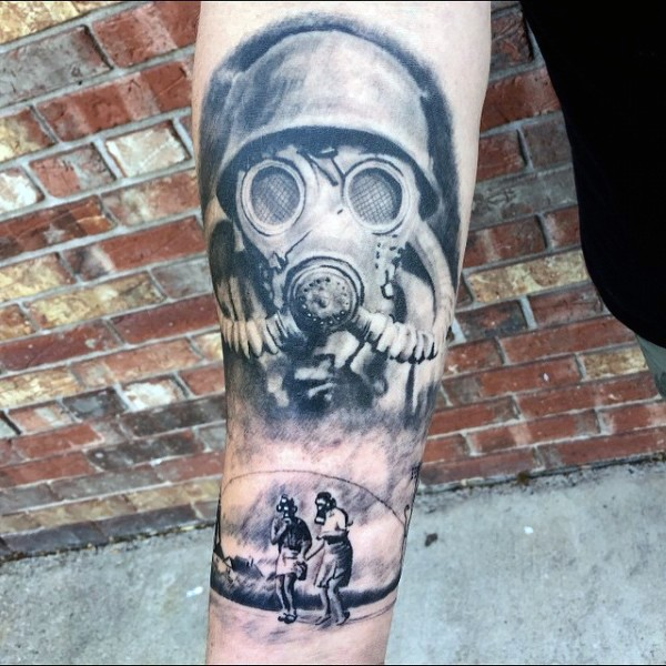Realism style black and wite soldier with gas mask tattoo on forearm