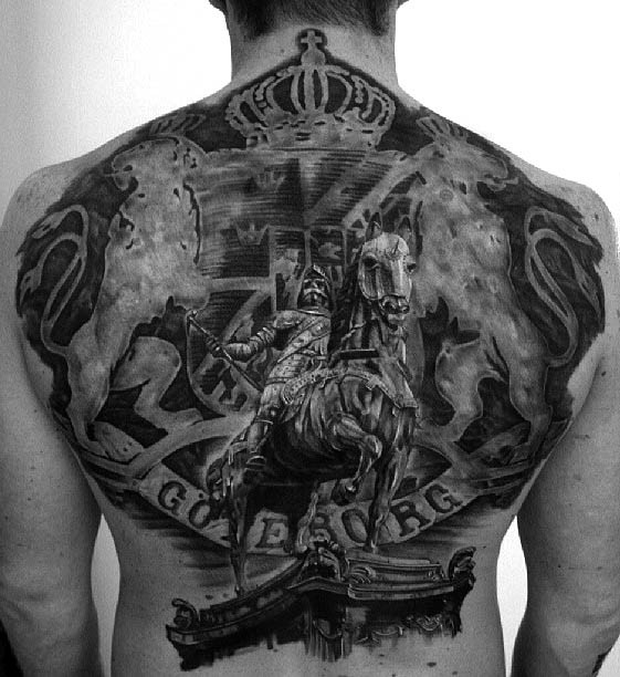 Realism style black ink antic statue with lettering