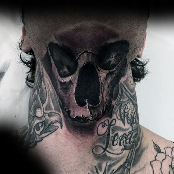 Realism style black ink neck tattoo of human skull