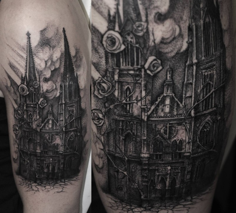 Realism style black ink shoulder tattoo of antic cathedral and roses