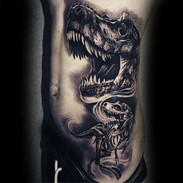 Realism style black ink side and thigh tattoo of alive and skeleton dinosaurus