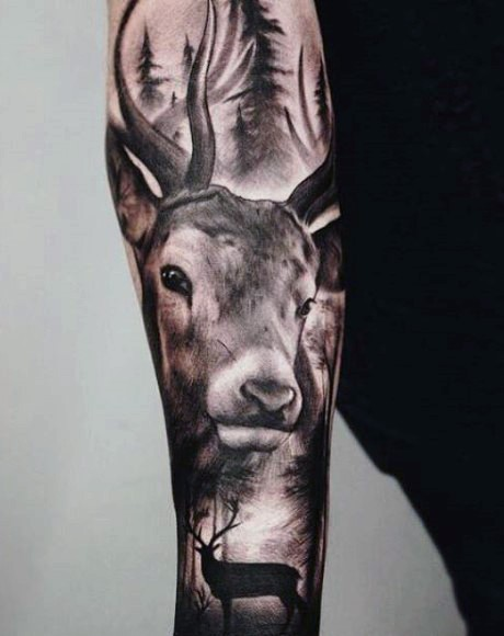 Realism style black ink wonderful painted sleeve tattoo of deer in forest
