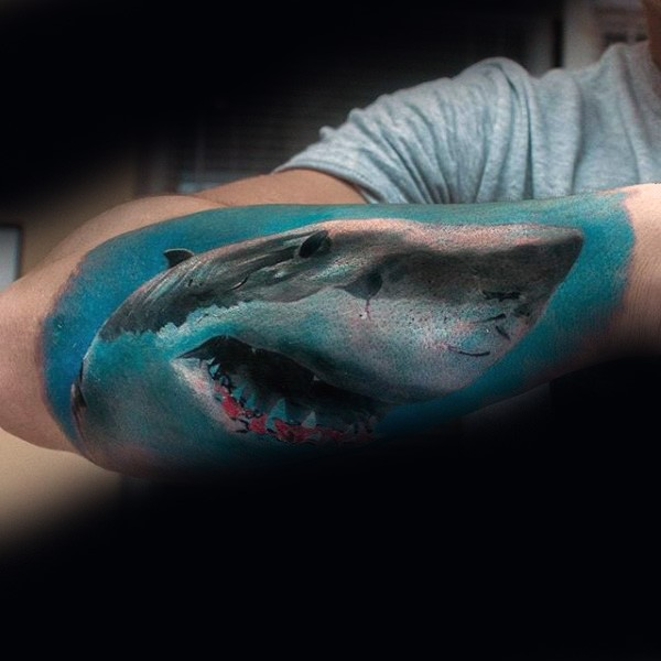 Realism style colored arm tattoo of swimming shark