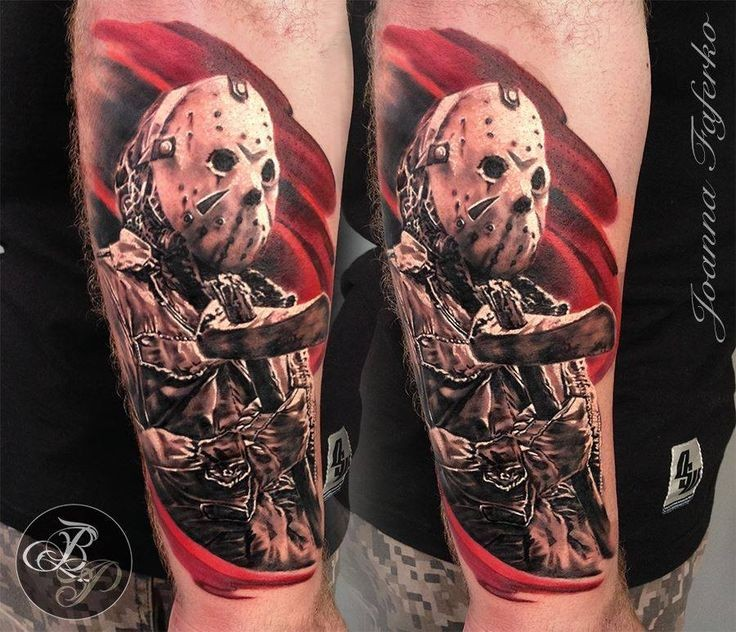 Realism style colored arm tattoo of creepy Jason with axe