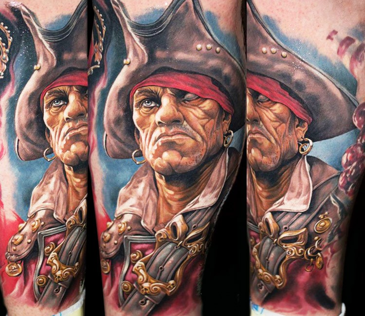 Realism style colored arm tattoo of demonic pirate