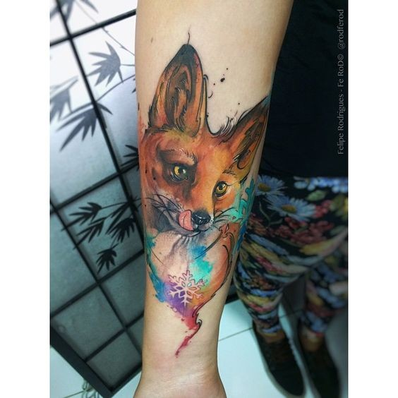 Realism style colored arm tattoo of magical fox