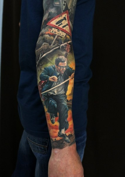 Realism style colored arm tattoo of running man with burning city