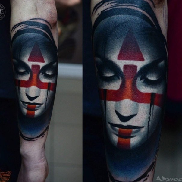 Realism style colored arm tattoo of tribal woman face