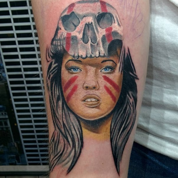 Realism style colored arm tattoo of Tribe woman with skull