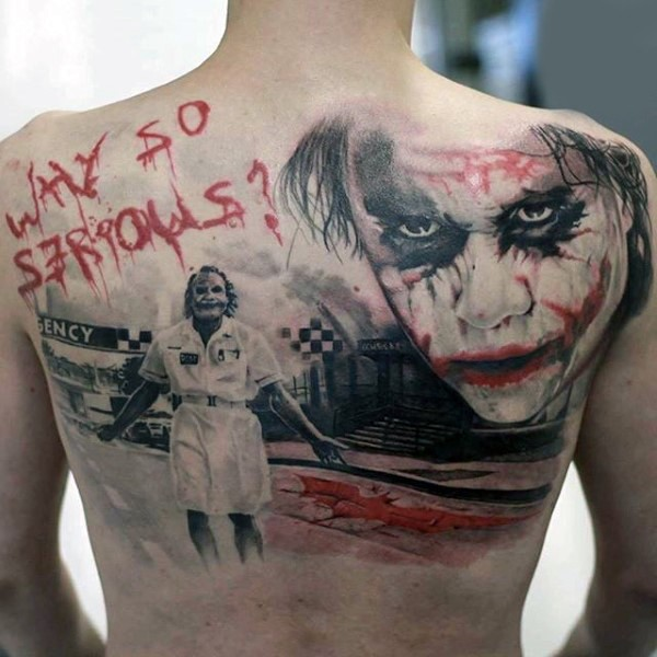 Realism style colored back tattoo of Joker with lettering