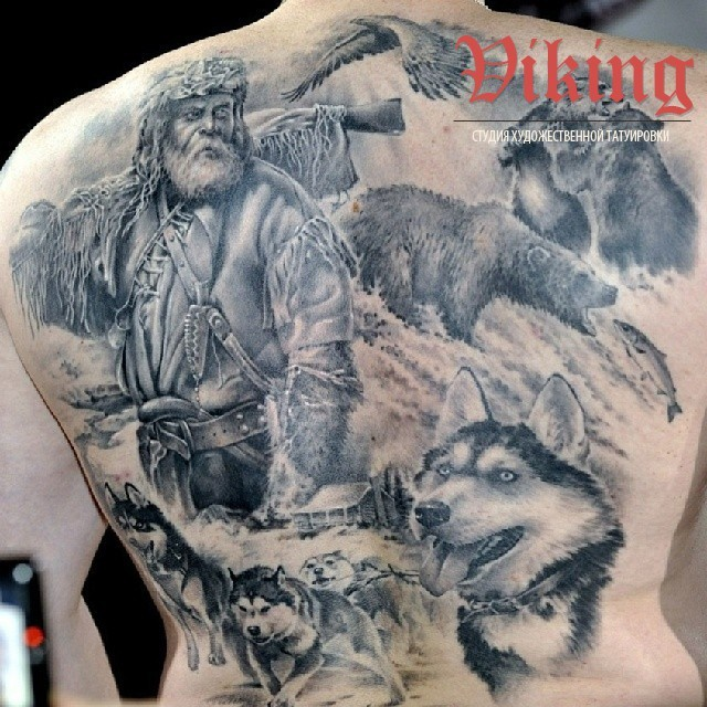 Realism style colored back tattoo of wild life animals and hunter