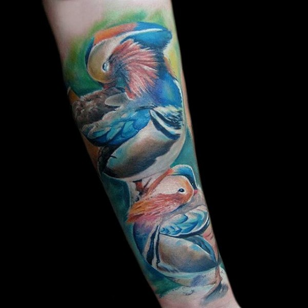 Realism style colored beautiful birds tattoo on forearm