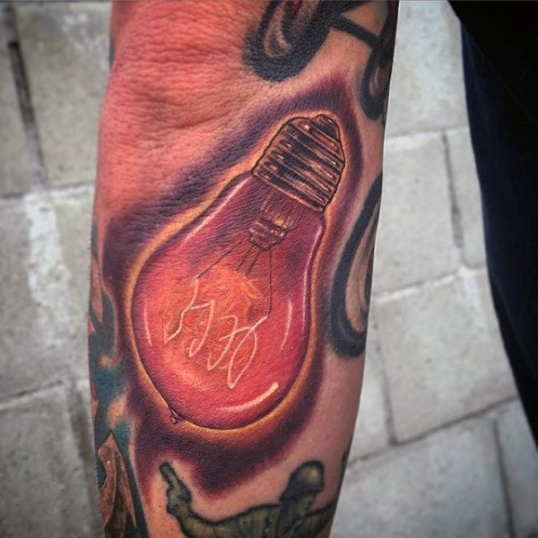 Realism style colored bulb tattoo