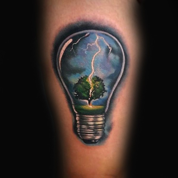 Realism style colored bulb with tree and lightening