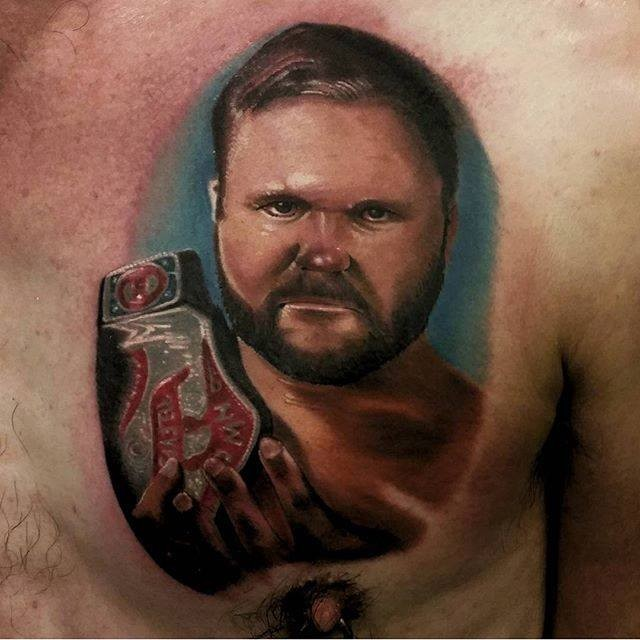 Realism style colored chest tattoo of fighter with champion belt portrait